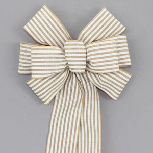 Natural White Cabana Stripe Rustic Wreath Bow