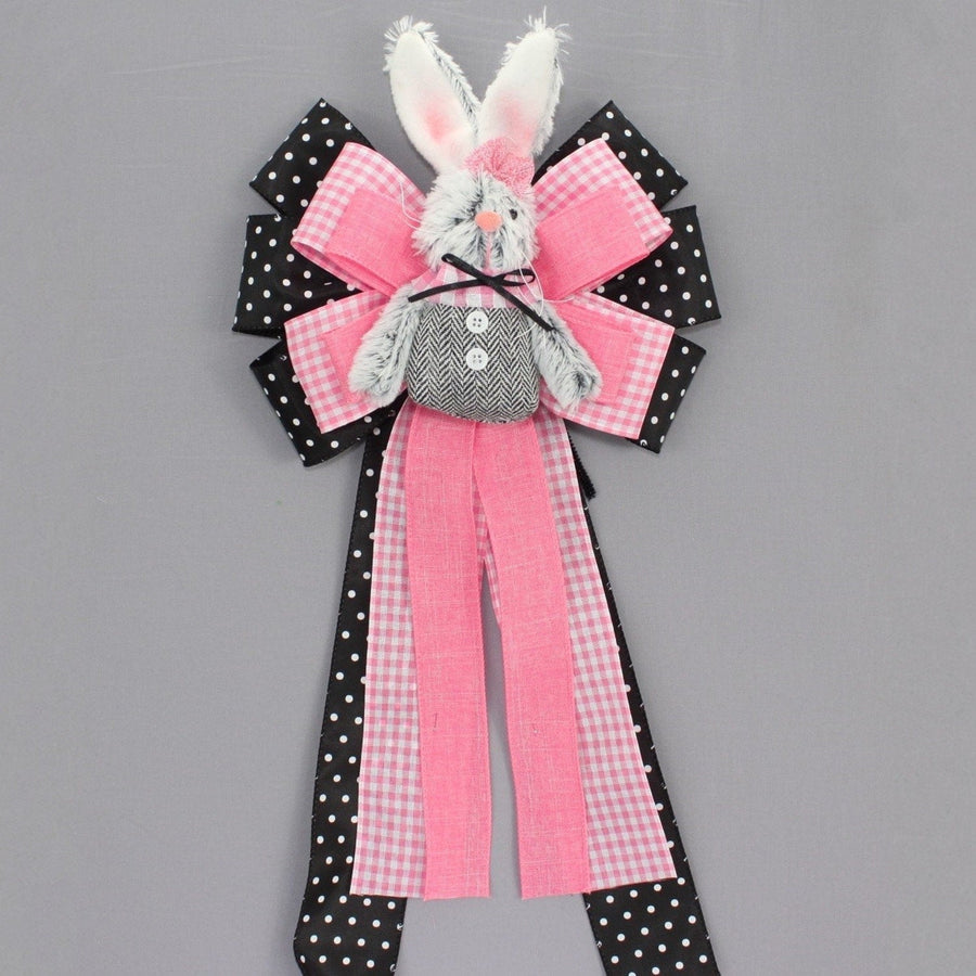 Black White Polka Dot Easter Bunny Wreath Bow