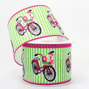 10 yards Daisy Basket Bicycle Lime Stripe Wired Ribbon