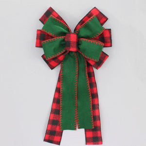 Buffalo Plaid Green Flannel Christmas Wreath Bow