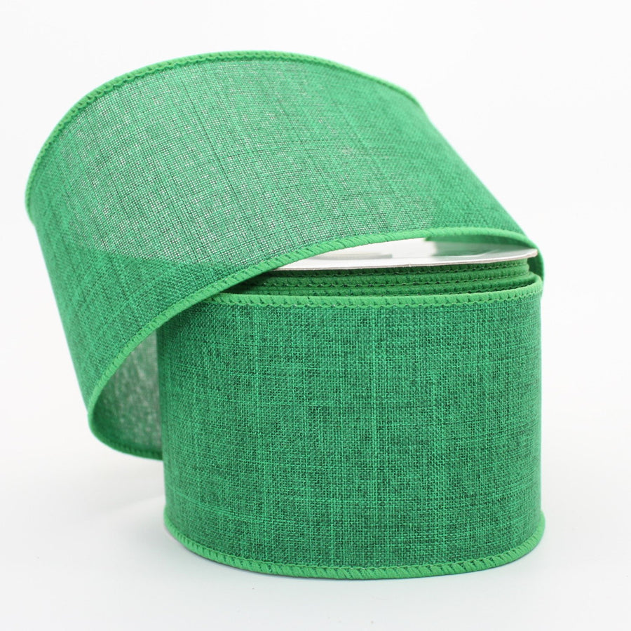 10 yards Emerald Green Linen Christmas Wire Edge Ribbon