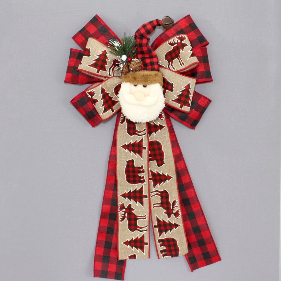 Buffalo Plaid Rustic Santa Christmas Wreath Bow