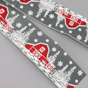 Snowy Red Barn Christmas Wreath Bow