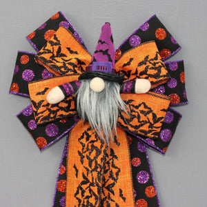 Purple Bats Gnome Halloween Wreath Bow
