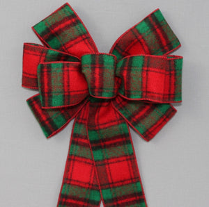 Holiday Flannel Plaid Christmas Wreath Bow