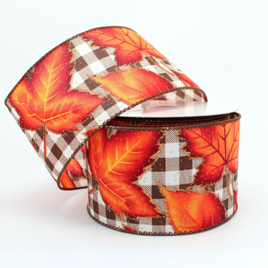 10 yards Brown Plaid Fall Leaves Wired Ribbon