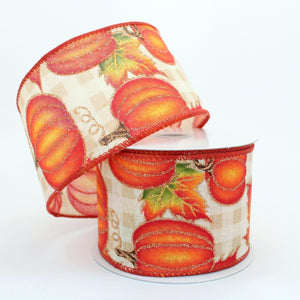 10 yards Cream Plaid Pumpkins Fall Wired Ribbon