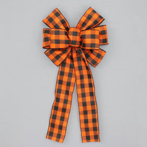 Orange Black Buffalo Plaid Halloween Bow