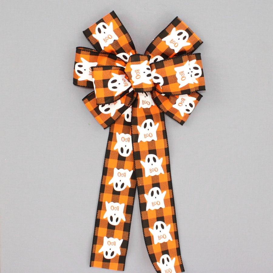 Boo Ghost Buffalo Plaid Halloween Bow