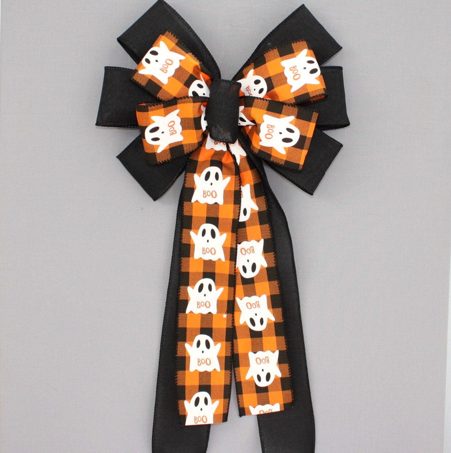 Ghost Orange Black Buffalo Plaid Halloween Wreath Bow