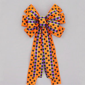 Orange Polka Dot Festive Stripe Halloween Wreath Bow