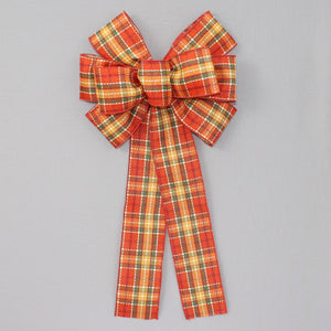 Fall Stitched Cider Plaid Wreath Bow