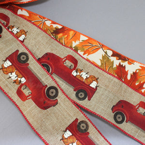 Fall Truck Vibrant Maple Leaves Wreath Bow