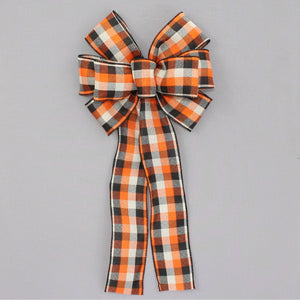 Orange Black Cream Buffalo Plaid Wreath Bow