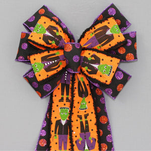 Frankenstein Sparkle Dot Halloween Wreath Bow
