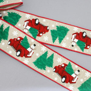Frosty Snowman Red Truck Christmas Wreath Bow