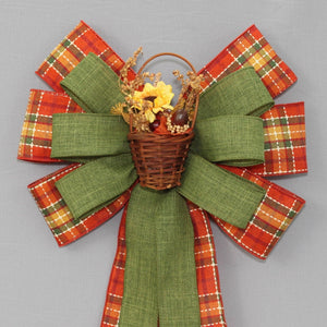 Sunflower Fall Basket Cider Plaid Wreath Bow