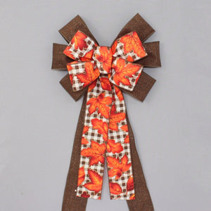 Burnt Orange Maple Leaves Brown Fall Wreath Bow