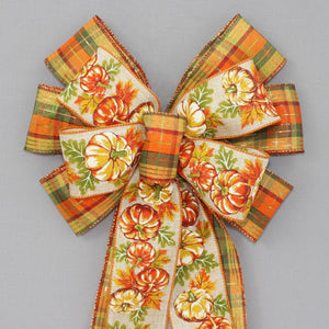 Fall Rustic Pumpkin Metallic Plaid Wreath Bow