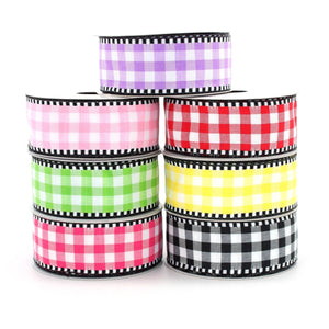 "10 yards Woven Gingham Black White Wired Ribbon -  1.5"" Wired Ribbon, 7 Color Options, Check Ribbon, Plaid Ribbon, Spring Ribbon"