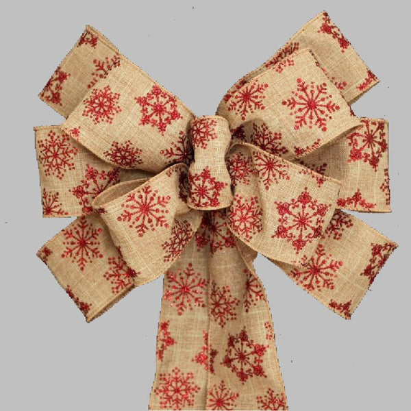 Red Glitter Snowflake Burlap Christmas Bows - Package Perfect Bows - 1