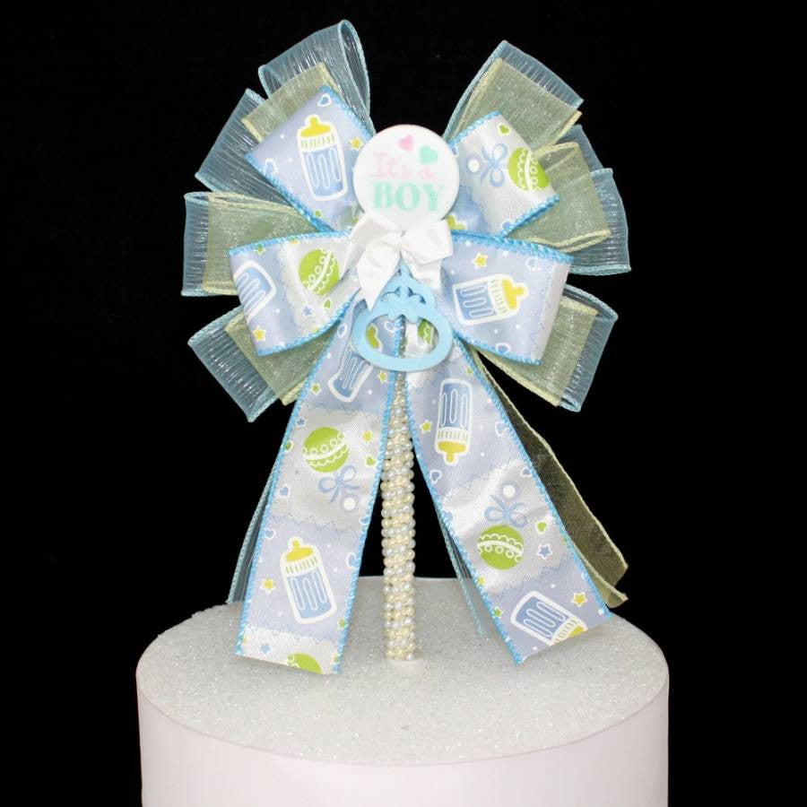 It's a Boy Baby Shower Bow Cake Topper - Package Perfect Bows - 3