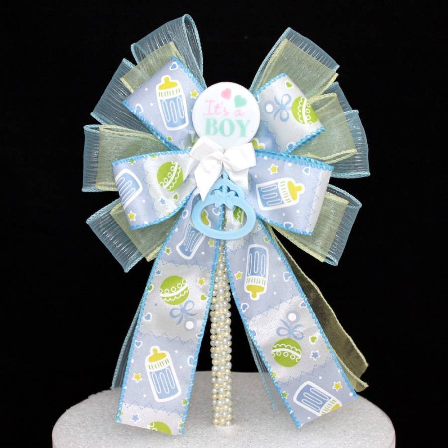 It's a Boy Baby Shower Bow Cake Topper - Package Perfect Bows - 1