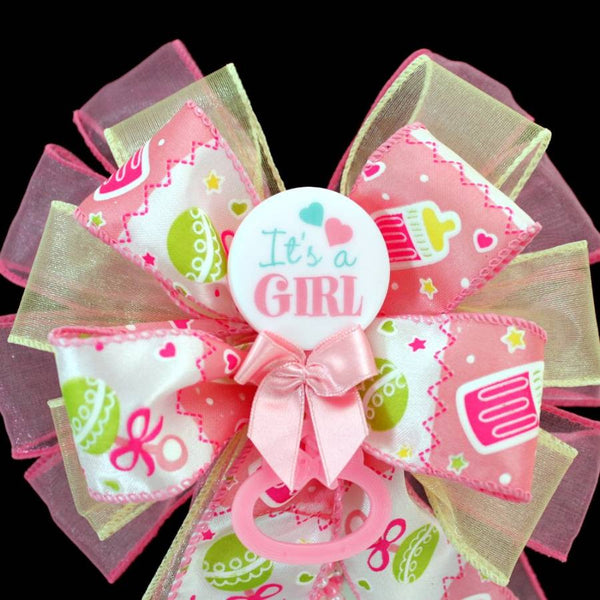 It's a Girl Baby Shower Bow Cake Topper - Package Perfect Bows - 1