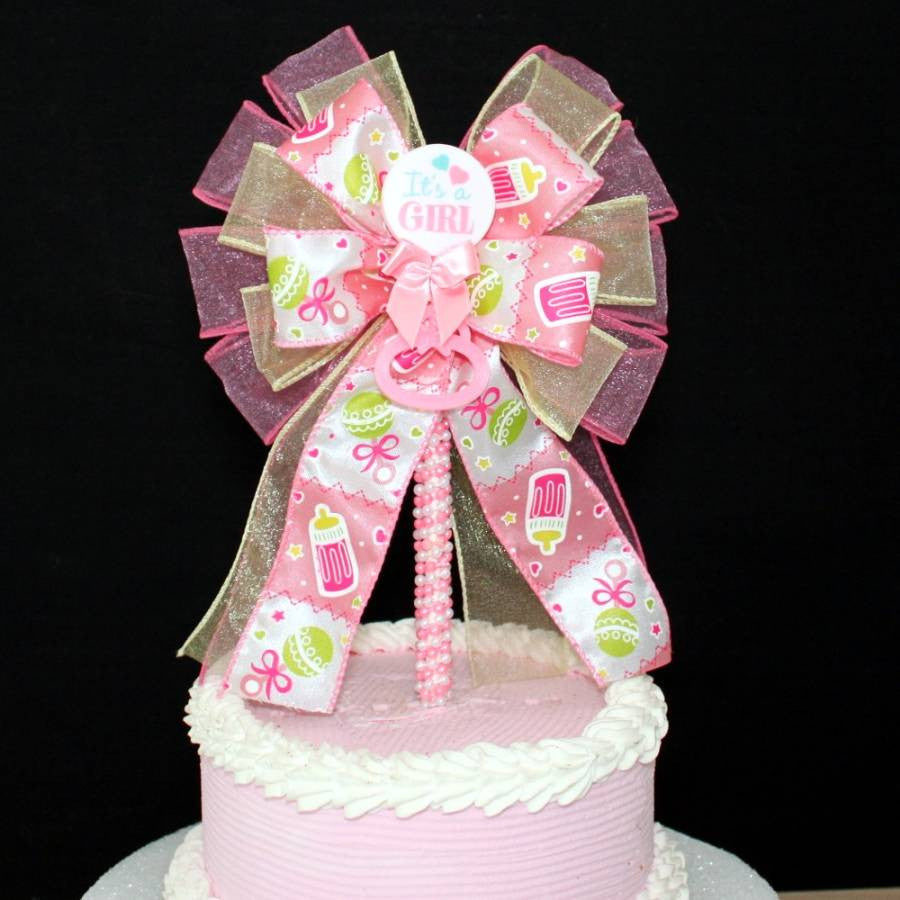 It's a Girl Baby Shower Bow Cake Topper - Package Perfect Bows - 3