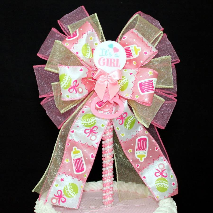 It's a Girl Baby Shower Bow Cake Topper - Package Perfect Bows - 4
