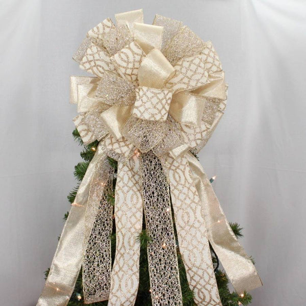 Ivory Gold Rustic Christmas Tree Topper Bow