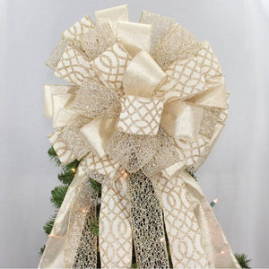 Ivory Gold Rustic Christmas Tree Topper Bow - Package Perfect Bows