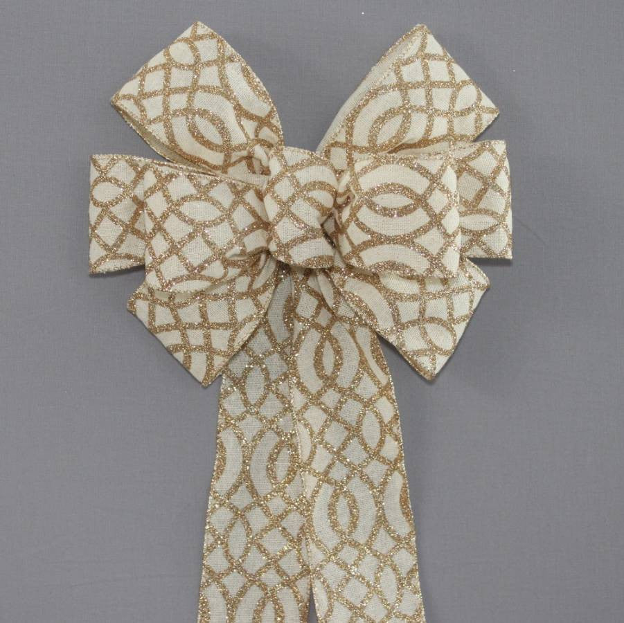 Ivory Linen Gold Sparkle Wreath Bow