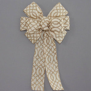 Ivory Linen Gold Sparkle Wreath Bow - Package Perfect Bows