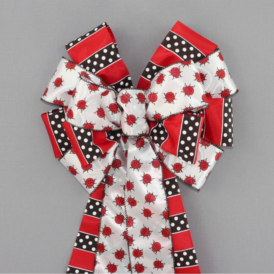 Ladybug Dotted Stripe Wreath Bow