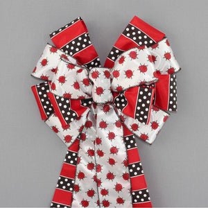 Ladybug Dotted Stripe Wreath Bow - Package Perfect Bows