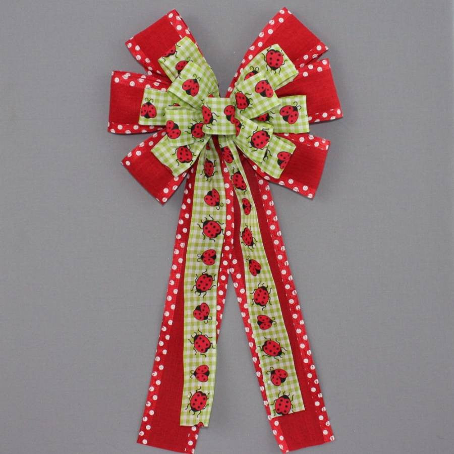 Ladybug Gingham Linen Wreath Bow - Package Perfect Bows