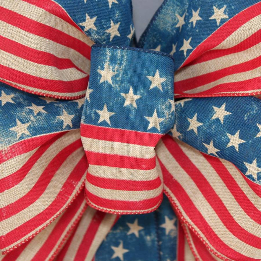 Stars and Stripes Distressed Patriotic Bow - Package Perfect Bows