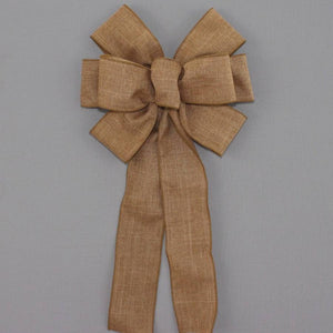Caramel Rustic Linen Wreath Bow - Package Perfect Bows
