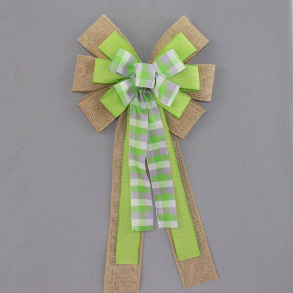 Lavender Green Plaid Burlap Wreath Bow