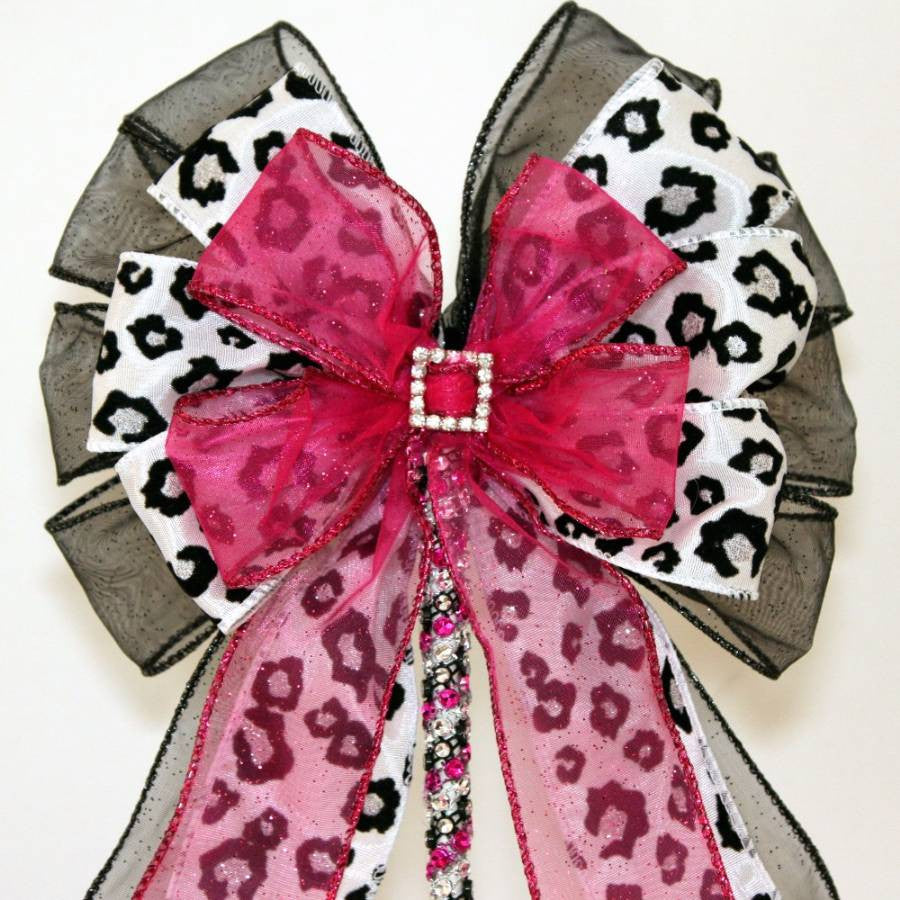 Leopard Fuchsia Rhinestone Buckle Bow Cake Topper - Package Perfect Bows - 2
