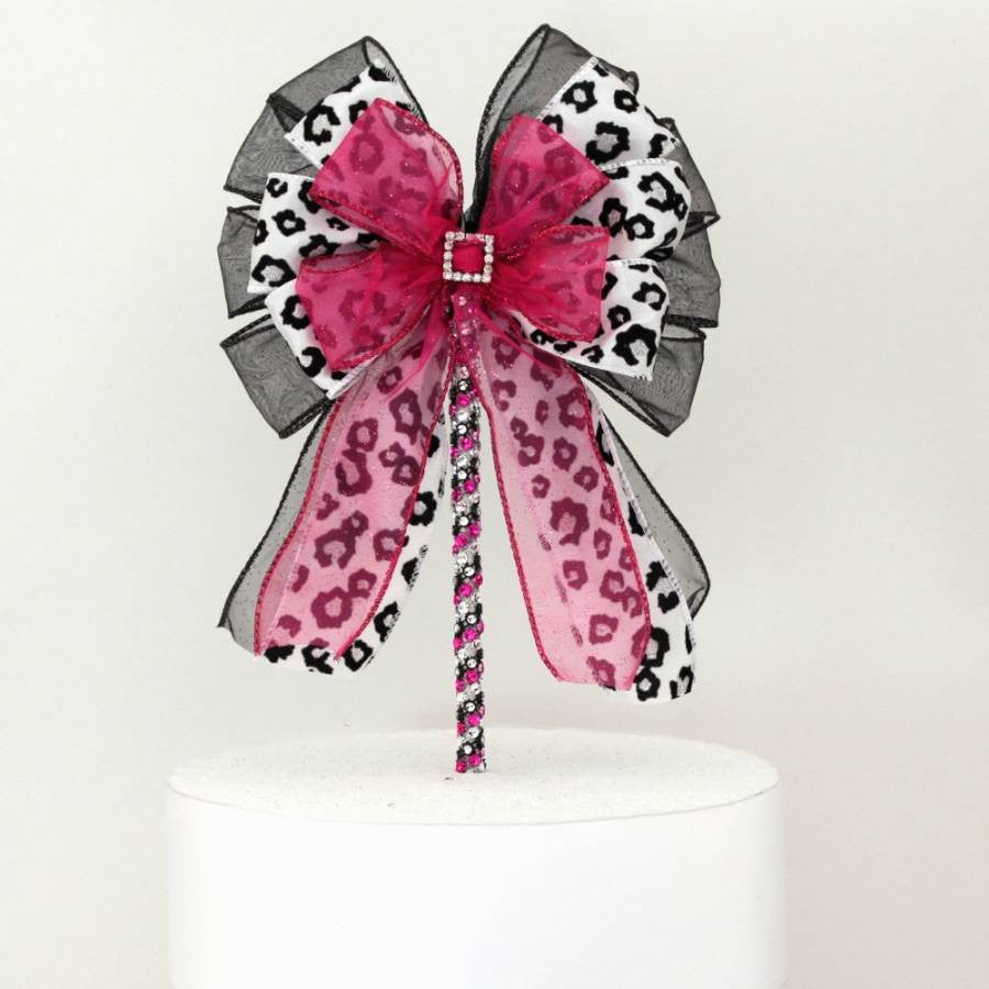 Leopard Fuchsia Rhinestone Buckle Bow Cake Topper - Package Perfect Bows - 3
