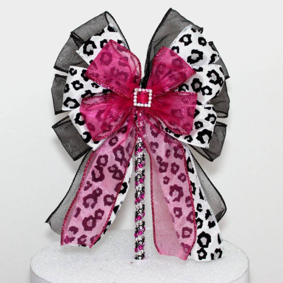 Leopard Fuchsia Rhinestone Buckle Bow Cake Topper - Package Perfect Bows - 1