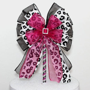 Leopard Fuchsia Rhinestone Buckle Bow Cake Topper - Package Perfect Bows