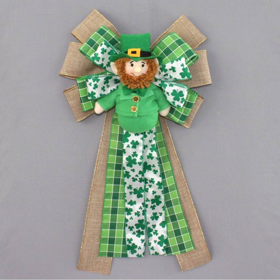 Leprechaun Plaid Rustic St. Patrick's Day Bow