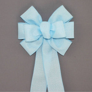 Light Blue Rustic Linen Wreath Bow - Package Perfect Bows