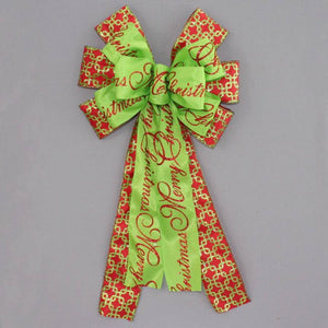 Merry Christmas Sparkle Interlock Wreath Bow - Package Perfect Bows