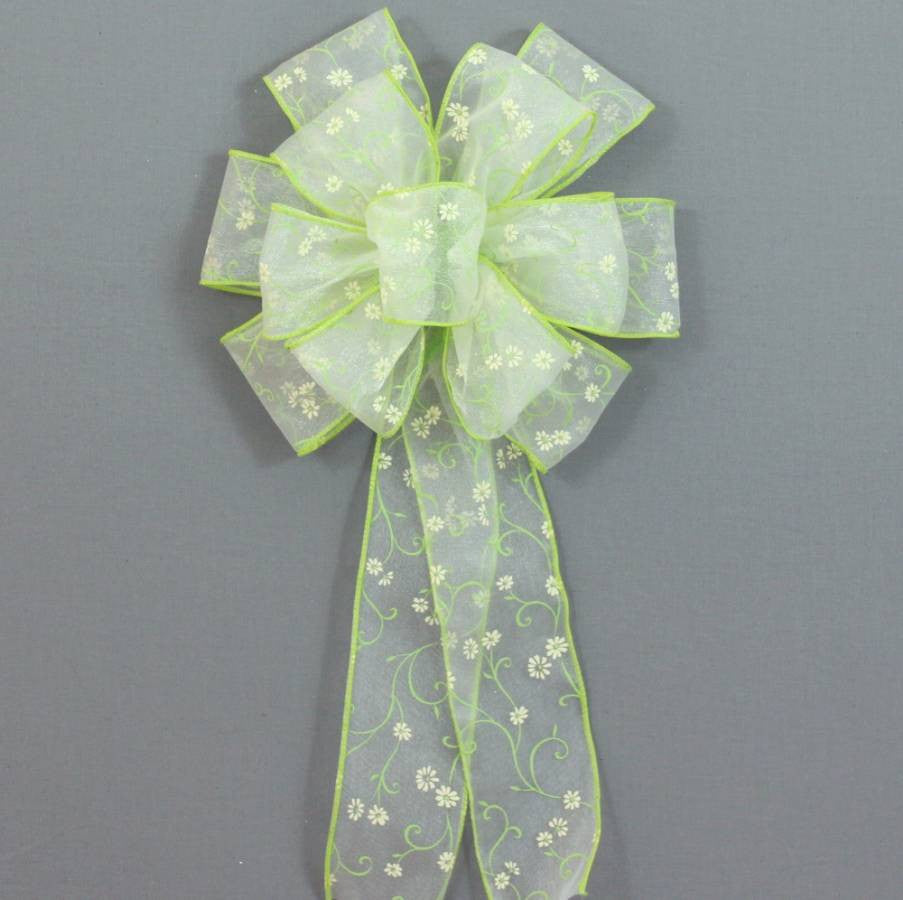 Spring Green Daisy Easter Wreath Basket Bow - Package Perfect Bows - 2