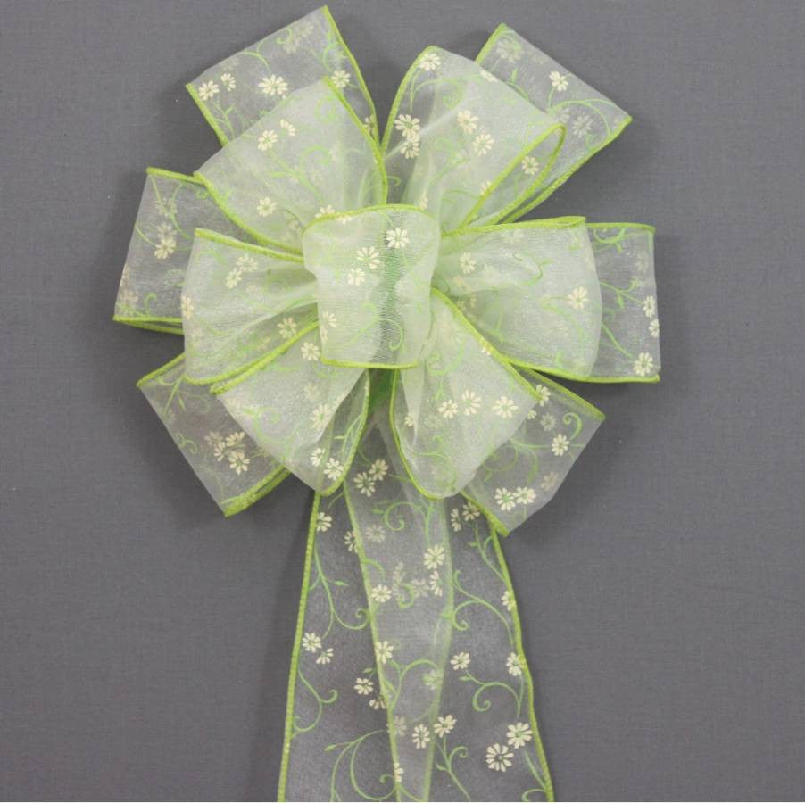 Spring Green Daisy Easter Wreath Basket Bow - Package Perfect Bows - 1