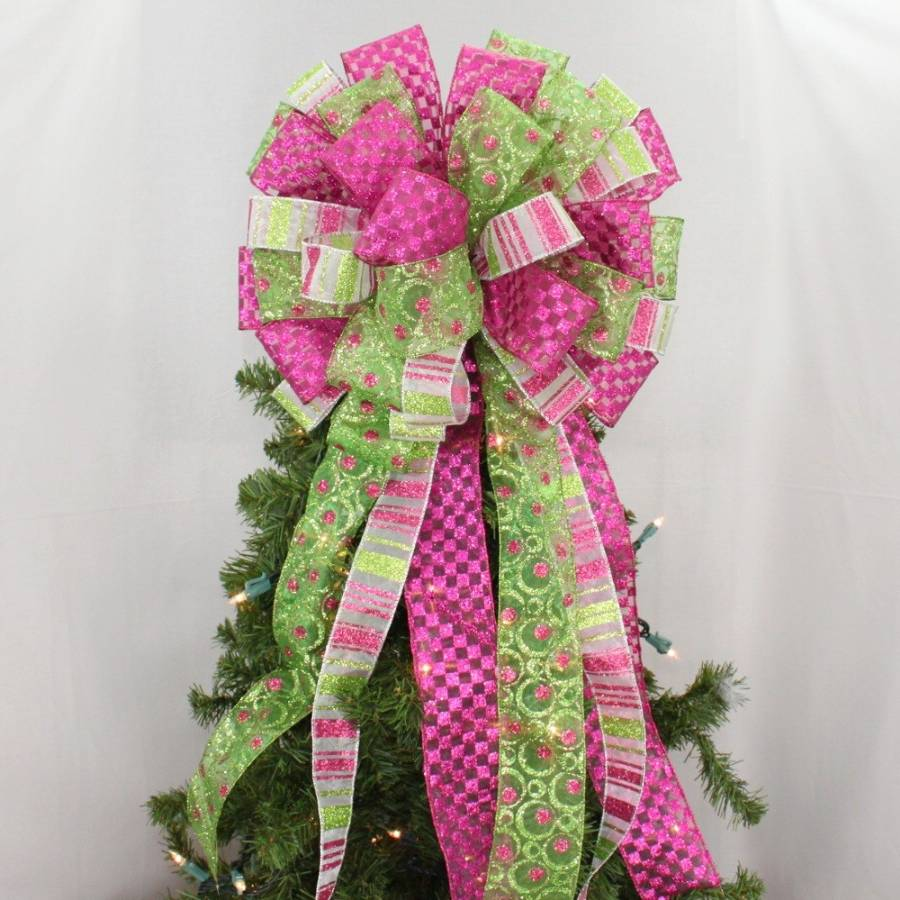 Hot Pink Lime Christmas Tree Topper Bow